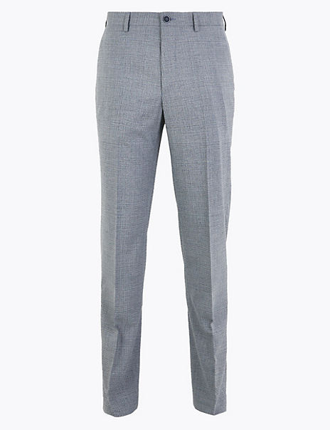 Regular Fit Microcheck Stretch Trousers