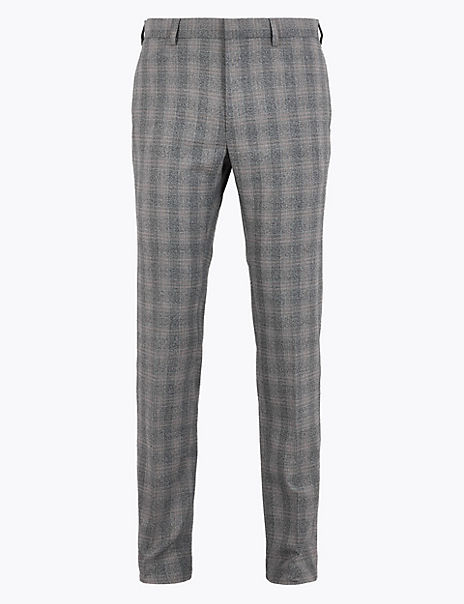 Skinny Fit Checked Stretch Trousers