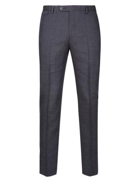 Linen Blend Flat Front Trousers