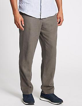 Regular Fit Linen Rich Trousers