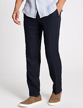 Slim Fit Linen Rich Trousers