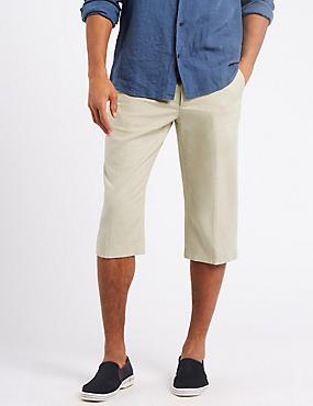 Linen Rich Adjustable Waist Shorts