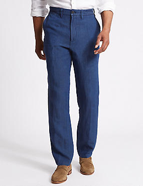 Straight Fit Pure Linen Trousers