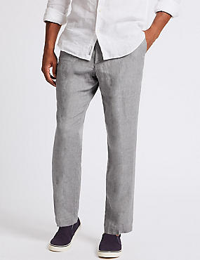 Tailored Fit Pure Linen Trousers