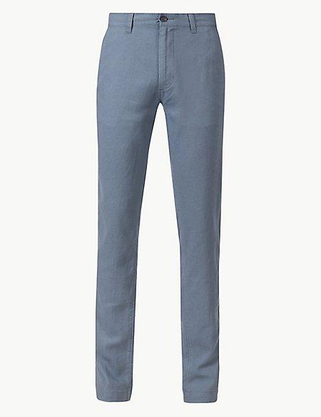 Slim Fit Linen Rich Trousers
