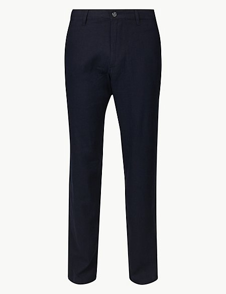 Big & Tall Linen Blend Trousers