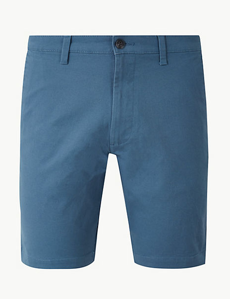 Pure Cotton Longer Length Chino Shorts