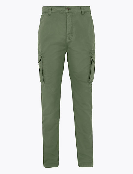 Slim Fit Pure Cotton Cargo Trousers