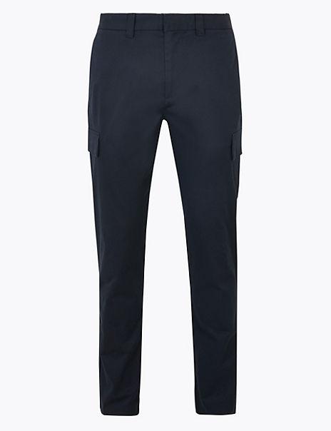 Slim Cotton Stretch Smart Cargo Trousers