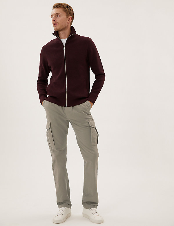 Straight Fit Elasticated Cargo Trousers