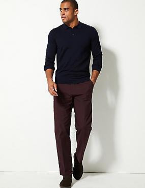 Regular Fit Cotton Rich Chinos, BURGUNDY, catlanding