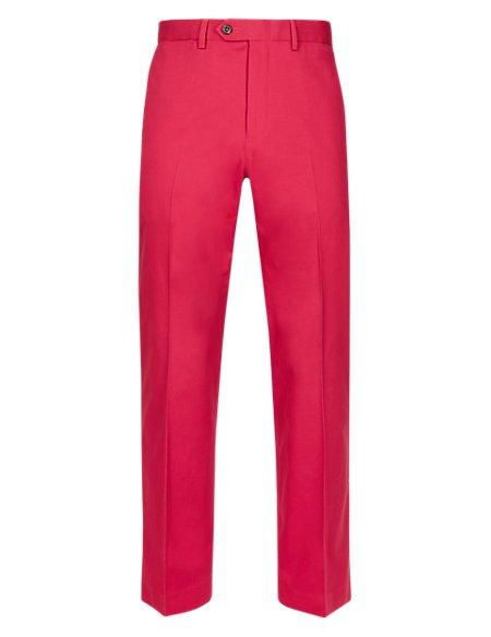 Cotton Rich Flat Front Trousers
