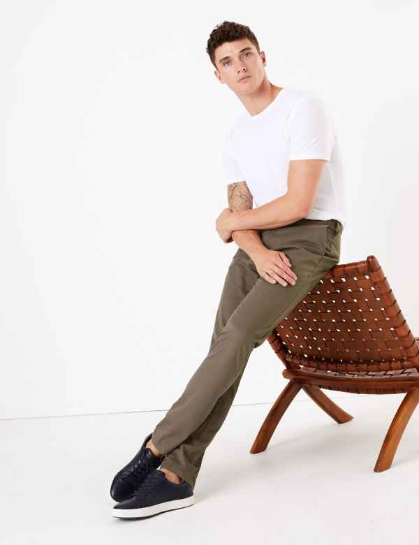 e7eb40b3af3 Regular Fit Cotton Rich Chinos with Stretch