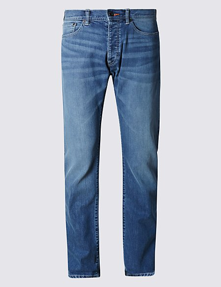 Washed Look Slim Fit Selvedge Stretch Jeans