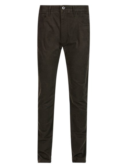 Pure Cotton Slim Fit 5 Pocket Twill Trousers