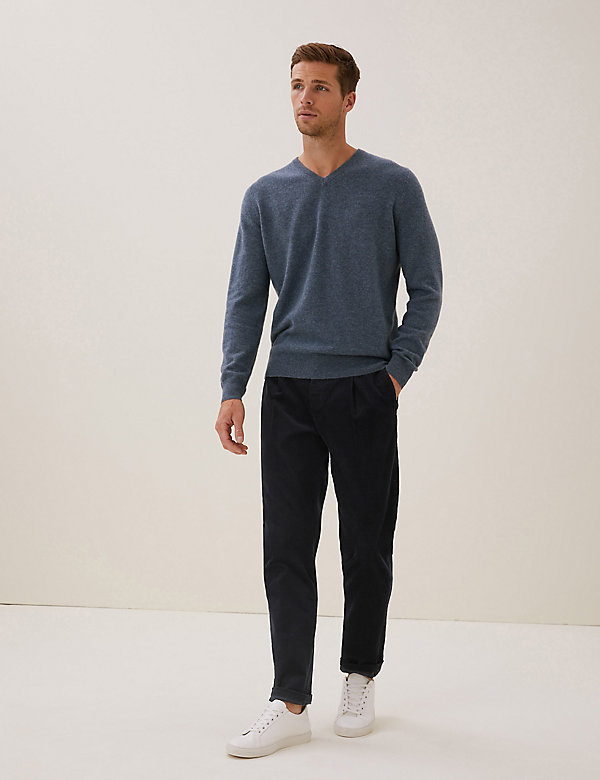 Tapered Fit Corduroy Single Pleat Trousers