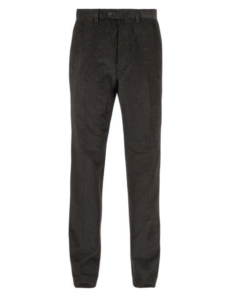 Cotton Rich Flat Front Corduroy Trousers