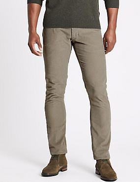 Slim Fit Pure Cotton Corduroy Trousers