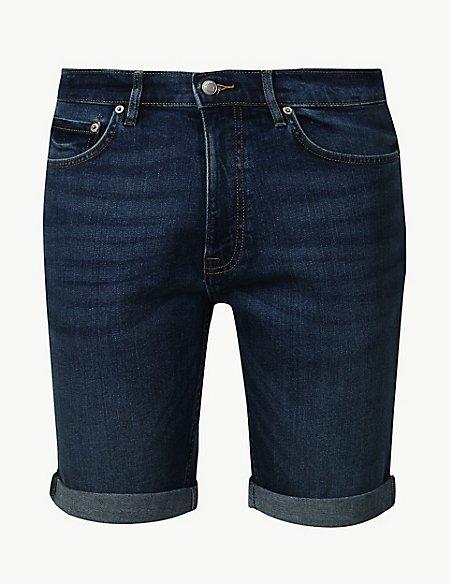 Cotton Denim Shorts with Stretch