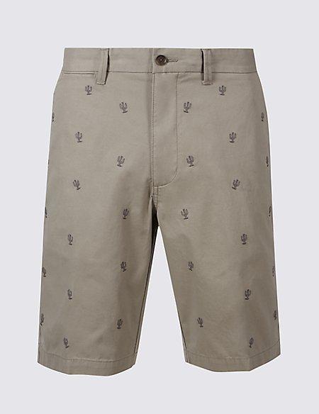 Pure Cotton Cactus Design Chino Shorts
