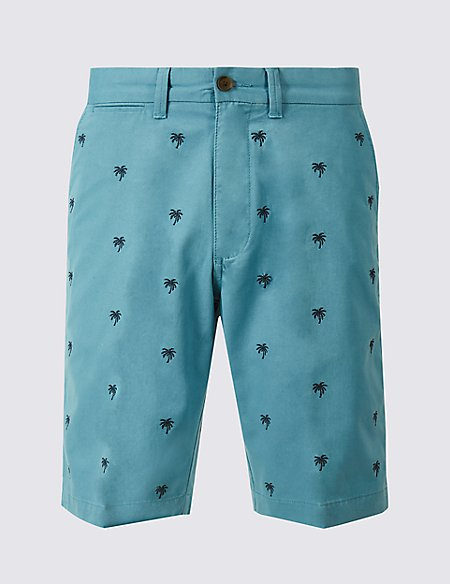 Pure Cotton Palm Embroidered Shorts