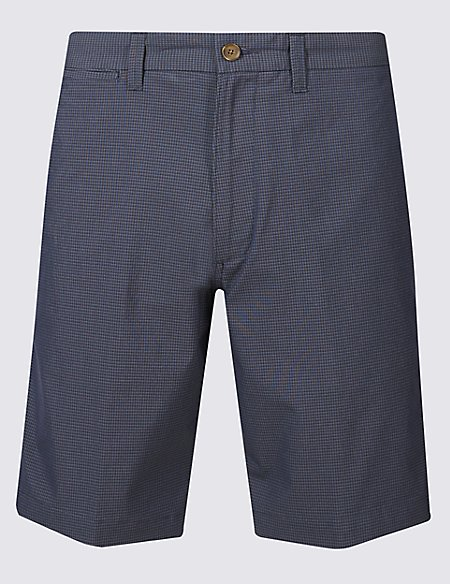 Cotton Rich Checked Chino Shorts with Stretch