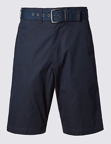 Cotton Rich Lightweight Belted Shorts
