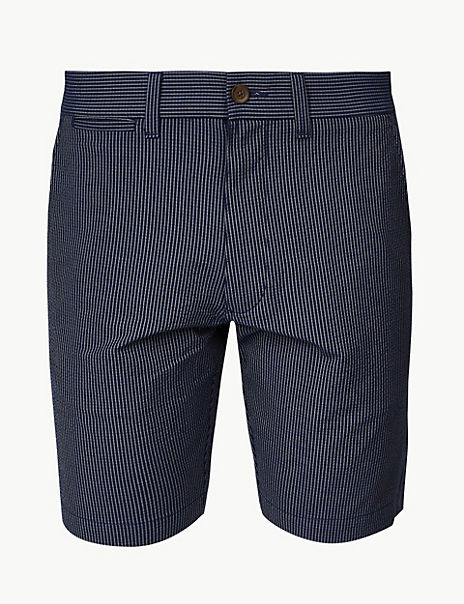 Cotton Rich Striped Shorts with Stretch