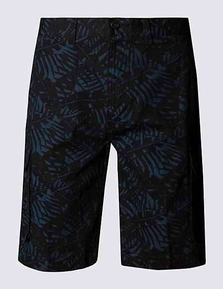 Pure Cotton Leaf Print Cargo Shorts