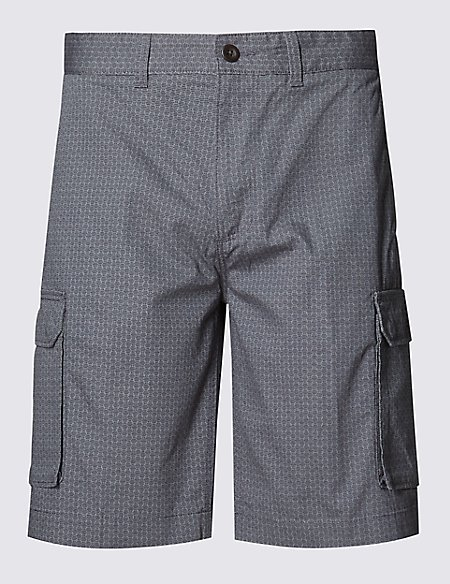 Pure Cotton Abstract Print Cargo Shorts