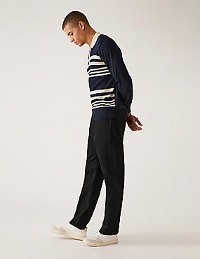 Shorter Length Regular Fit Stretch Jeans, BLACK, catlanding
