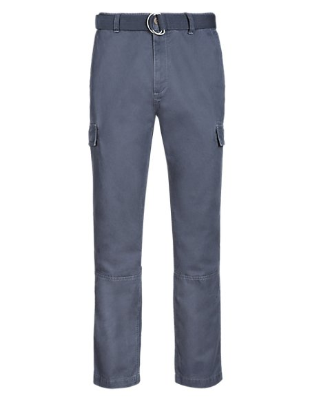 Pure Cotton Belted Cargo Chinos
