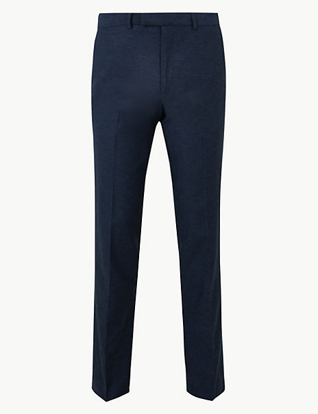 Slim Fit Linen Blend Flat Front Trousers