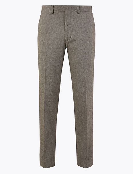 Slim Fit Cotton Blend Stretch Trousers