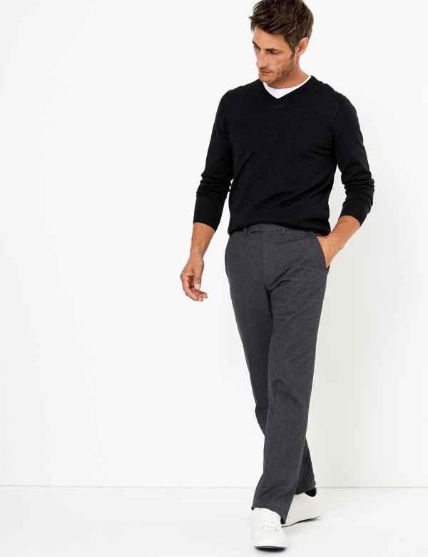 Regular Fit Cotton Rich Trousers