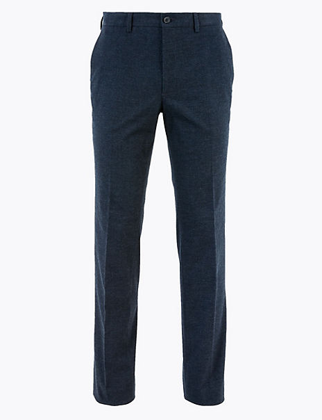 Slim Fit Cotton Rich Checked Trousers