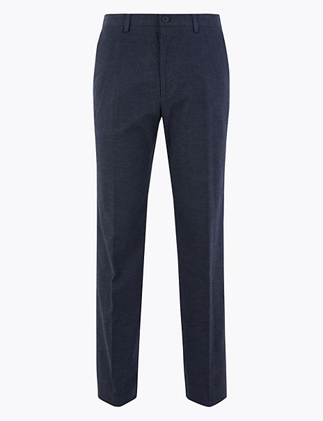 Regular Fit Checked Stretch Trousers