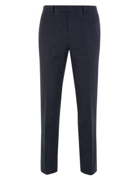 Slim Fit Striped Stretch Trousers