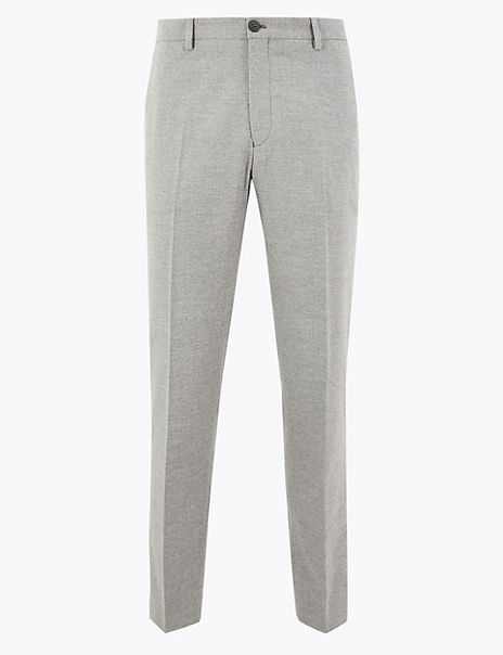 Slim Fit Textured Stretch Trousers