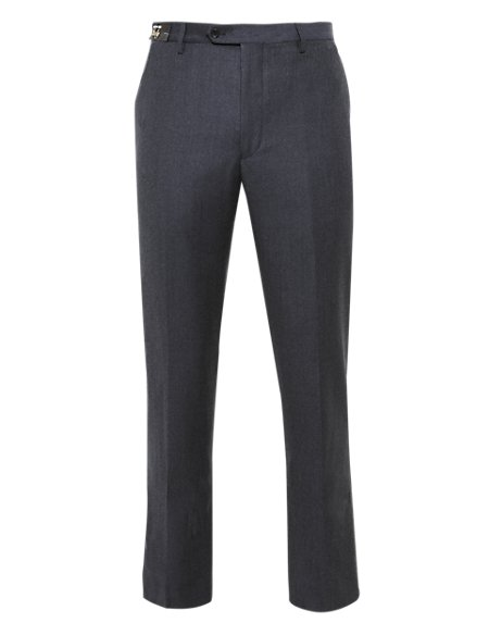 Luxury Pure Wool Flat Front Flannel Trousers