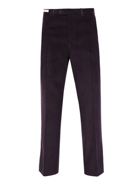 Luxury Flat Front Corduroy Trousers