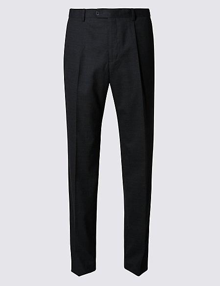 Pure Wool Single Pleat Trousers