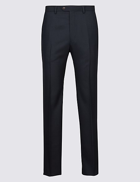 Tailored Fit Pure Wool Flat Front Trousers