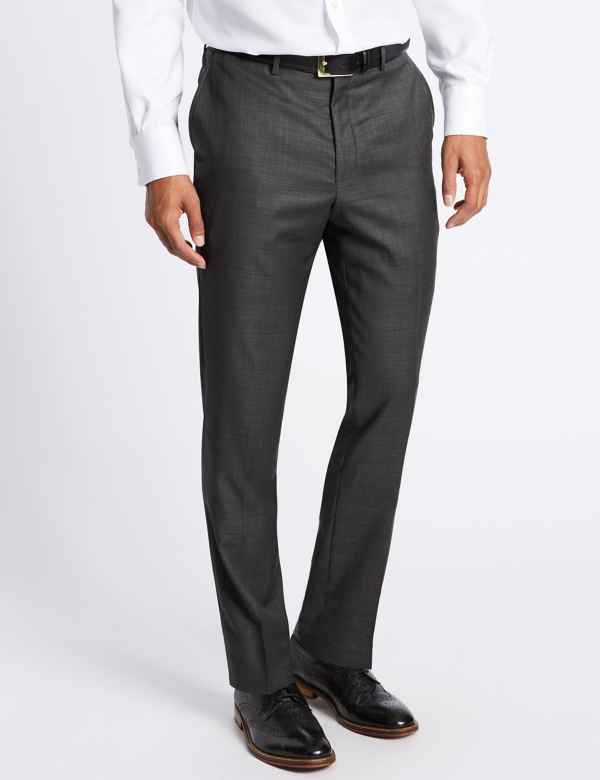 4f6d74faad3 Tailored Fit Pure Wool Textured Trousers