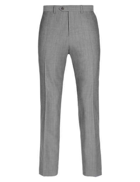 Pure Wool Tailored Fit Flat Front Trousers