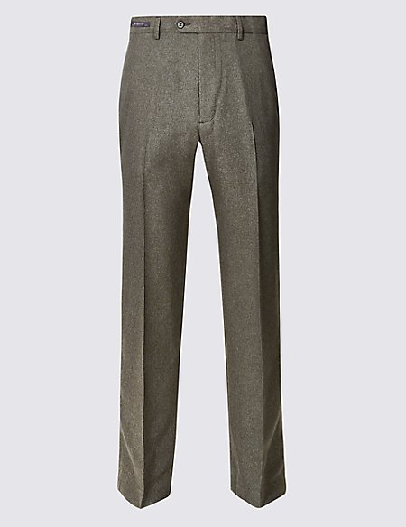 Regular Fit Flat Front Trousers