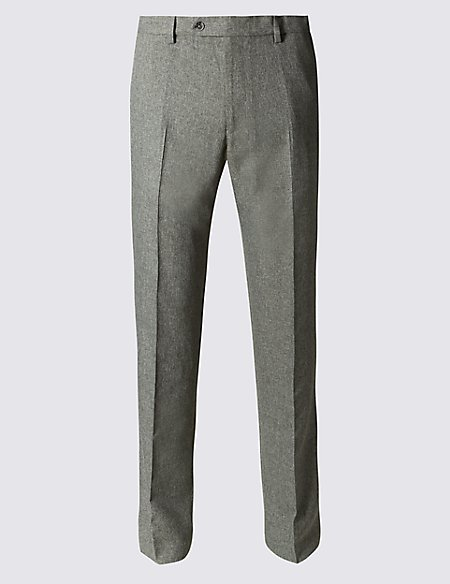 Tailored Fit Flat Front Trousers