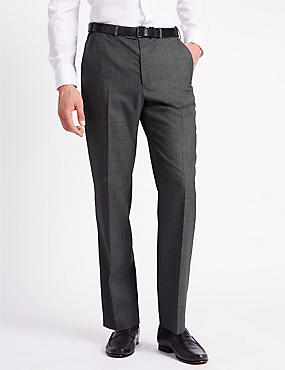Regular Fit Wool Blend Flat Front Trousers