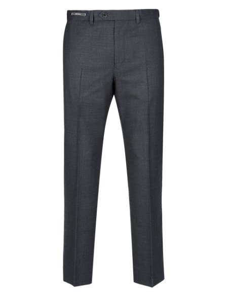 Active Waistband Flat Front Trousers with Wool