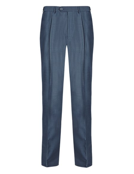Wool Blend Active Waistband Single Pleat Trousers with Stormwear™